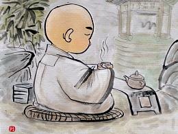 """""""茶禅一味""""为某禅茶文化论坛画的两幅画。"""