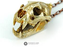 骸首饰设计师原创铜可动老虎头骨吊坠骷髅项链哥特动物男款