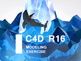 C4D for LOW POLY WORLD:whale/sea/iceburg 建模练习