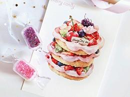 【樱桃】水彩甜点蛋糕