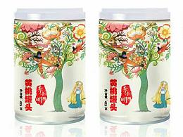 李小明黄桃罐头包装插画
