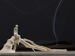 【吾心道场】 吾心禅境系列之闻蝉  线香插 陶瓷艺术香道空间摆件