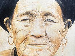 《彝族老人》激光雕刻肖像