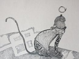臧金龙钢笔画专利技法作品《十二生肖全家福系列——金猴望月》