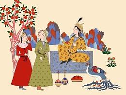新疆大枣的包装插画