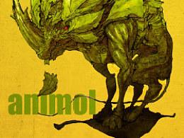 动物与叶子系列海报