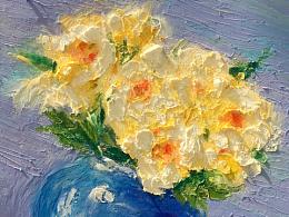 油画棒瓶花