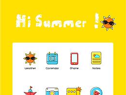 描边夏天icon