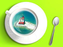 小合成  杯子中的海