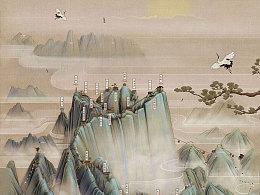 华山中国风手绘地图