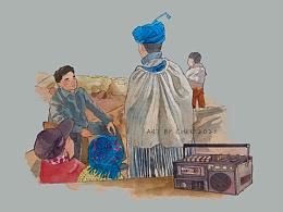 彝族少年的连载故事部分插画