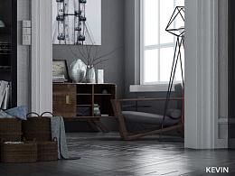 两件家具的场景渲染