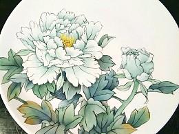 牡丹凉――景德镇釉上新彩手绘盘