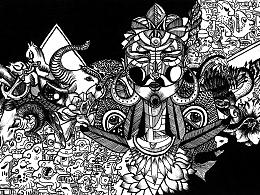 玛雅——黑白手绘  涂鸦