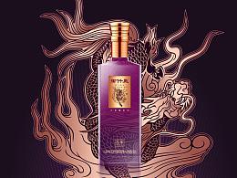 白酒品牌包装海报LOGO,VI易拉宝设计,现代中国风麒麟手绘插画in站酷zcool