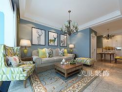 康桥悦岛90平两室两厅简欧风格装修效果图