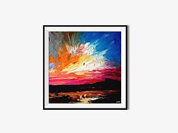 油画《夕阳》