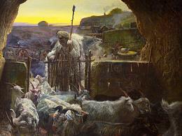 油画作品《放羊》