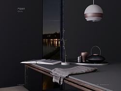 本橡联合产品系列·胡桃木+混凝土系列灯具·圆形灯