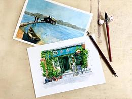淡彩钢笔画——《时光》