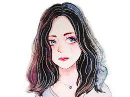 手绘水彩妹子头像