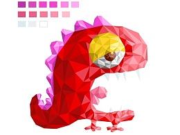 《恐龙争糖》多边形插画风格