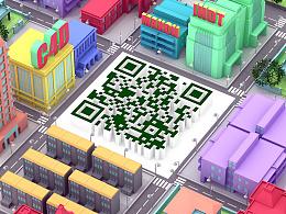 使用C4D制作富有个性的立体场景二维码