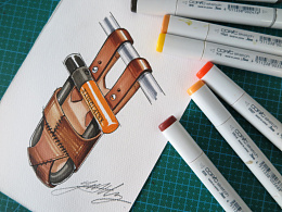 【革也】设计视频:手绘单车皮具配件图稿