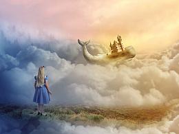 合成鲸鱼城堡童话场景
