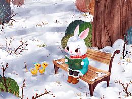 儿童插画-兔子讲故事