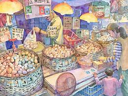 水彩插画系列:买菜