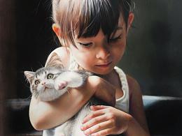 彩铅《小雨同绘  抱猫女孩》