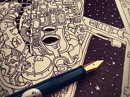 - 驾驶舱 - 钢笔画