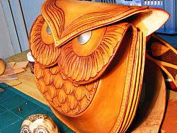 原创猫头鹰牛皮包