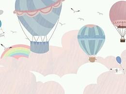 卡通热气球