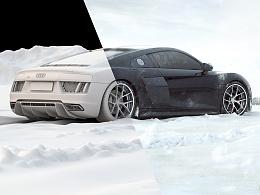 AUDI R8  ON THE SNOW