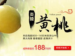 生鲜水果 网页banner 黄桃 蜜柚 柚子 红心蜜柚 三红蜜柚 玉妃葡萄 湖南网页设计