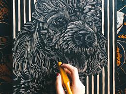 手工雕刻宠物黑白木刻版画