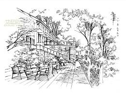 别墅景观线稿一张