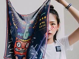 原创设计品牌9 3|4 Lab. 图腾柱插画真丝丝巾