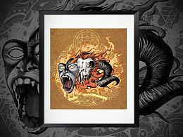 黑暗系插画——《披着猴皮的羊》