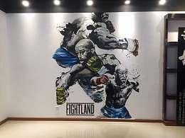 健身房墙绘 健身房壁画 健身房彩绘 广州壹家艺术墙绘