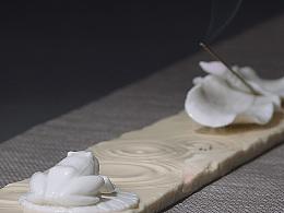 【吾心道场】 吾心禅境系列之喜雨 线香插 陶瓷艺术香道空间摆件