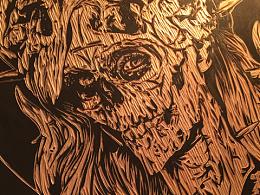 纯手工木刻版画个性骷髅