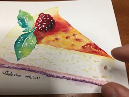 诱人的蛋糕—小花水彩训练营第三次作业