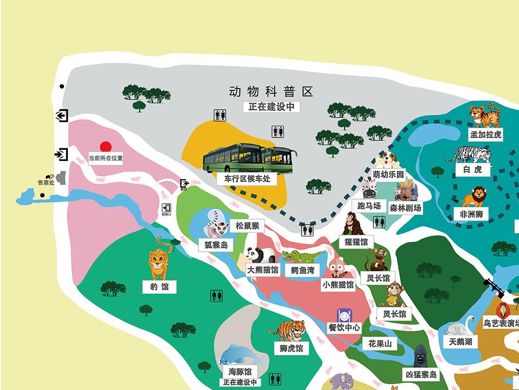 长沙生态动物园园区地图