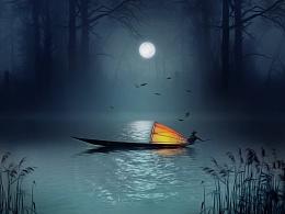 海报合成,月光海报,月色江边,垂钓渔船,灯火场景