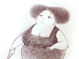 牵狗的胖妇人