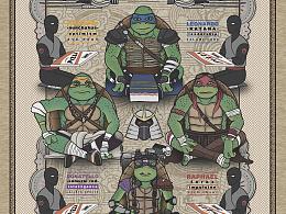 忍者神龟民国风海报