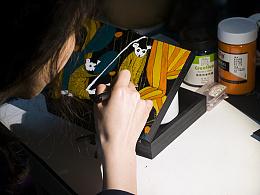 原创手绘 呆萌狐猴 超轻木质手工包 献给与世无争的狐猴乐园